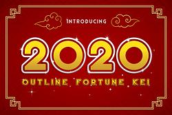2020 Outline Fortune Kei Font (FREE), Font dengan Gaya Retro-Futuristik