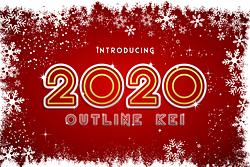 2020 Outline Kei Font (FREE), Font Outline Futuristik